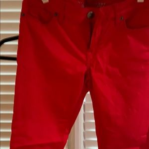 Red skinny ankle jeans